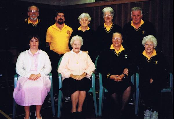 1990s WDS Indoor Bowls Team: Back (L to R) Noel Rees, Mark Gates, Maxine Cantwell, Jannette Smith, Geoffrey Jones. Front (L to R) Julie Gates, Doreen Howell, Toni Rees, Mary Rees.