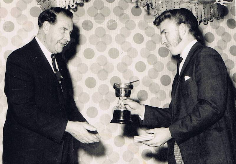 Tony Walton (on right) being presented with Sportsperson of the year by Sir Francis Kitt in 1969