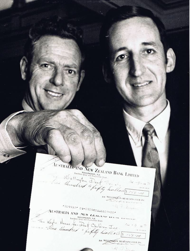 Max Howell (left) being presented with a cheque for WDS, in 1971